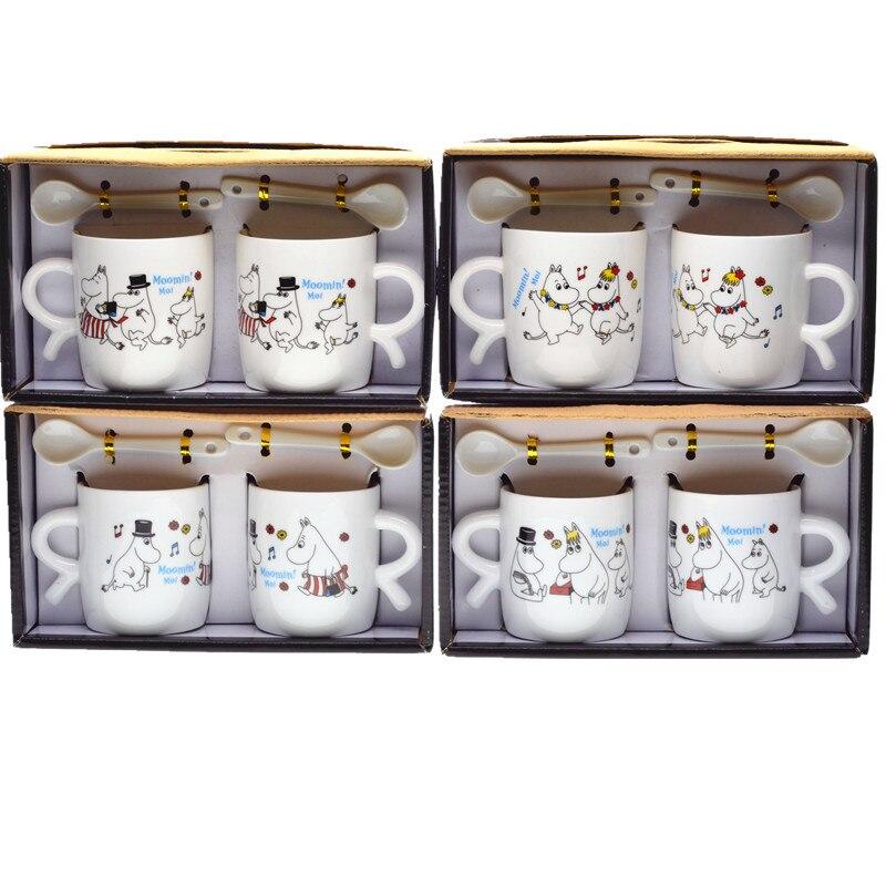 2pcs Gift box packing 200ml 300ml Ceramic Moomin coffee cup with spoon Cartoon coffee mug Moomin