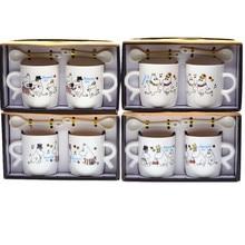 2 stücke Geschenk box verpackung 200 ml ~ 300 ml Keramik Mumin kaffeetasse mit löffel Cartoon kaffeetasse Mumin 4 designs zufall