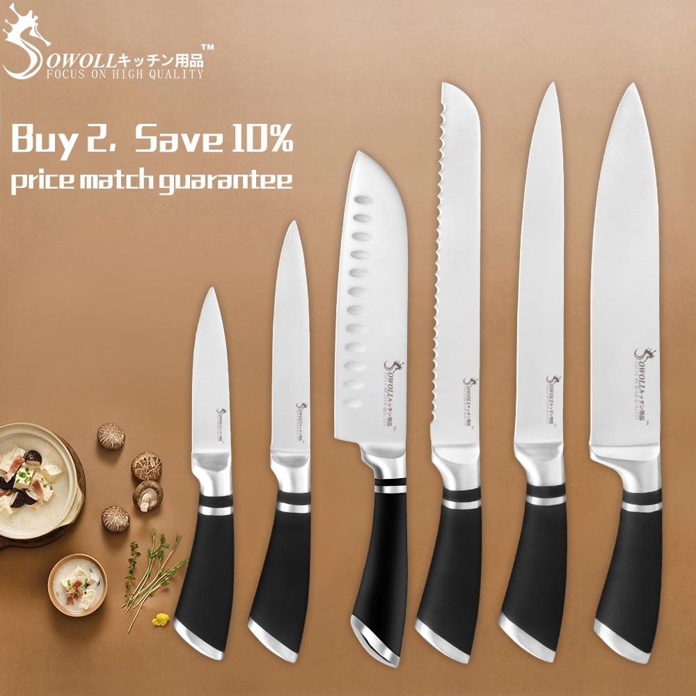 "SOWOLL סכו""ם סט מטבח סכיני 3cr13 נירוסטה סכיני קילוף שירות Santoku לחם חיתוך שף סכין בישול אבזר"
