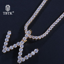 TBTK Sale 26 Initial Letters Copper Iced Out Crystal With Chain Necklace Gold Unisex Charms Luxury Jeweley Gift