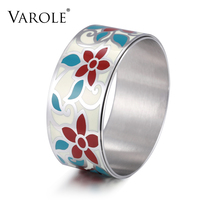 VAROLE Double Layer Big Trendy Bracelet Elegant Classic Stainless Steel Metal Enamel Bangles for Women Enamel Jewelry Pulseiras