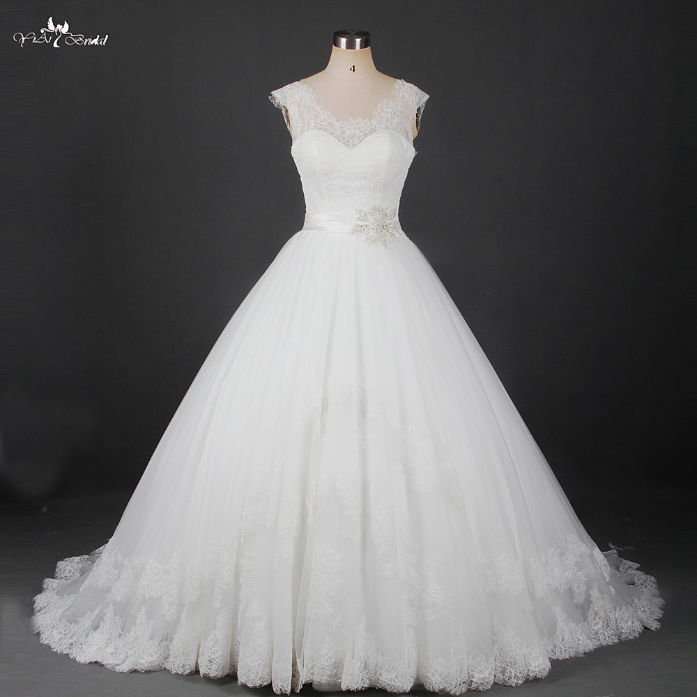 RSW912 Robe De Mariage Ivoire Dentelle Vintage Robe De Casamento Robes De Noiva Estilo Princesa