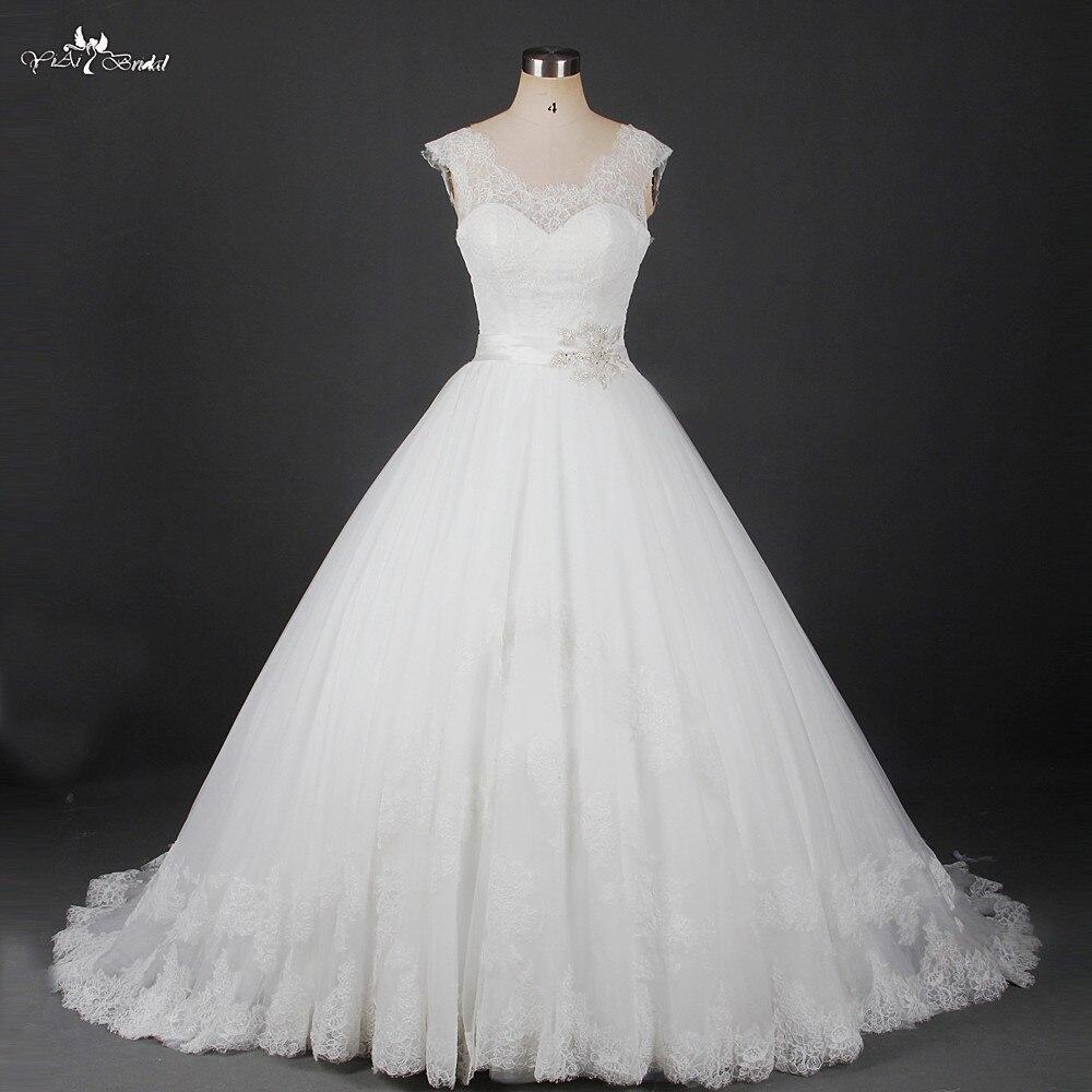 RSW912 Robe De Mariage Avorio Merletto Dell'annata Vestido De Casamento Abiti Da Noiva Estilo Princesa