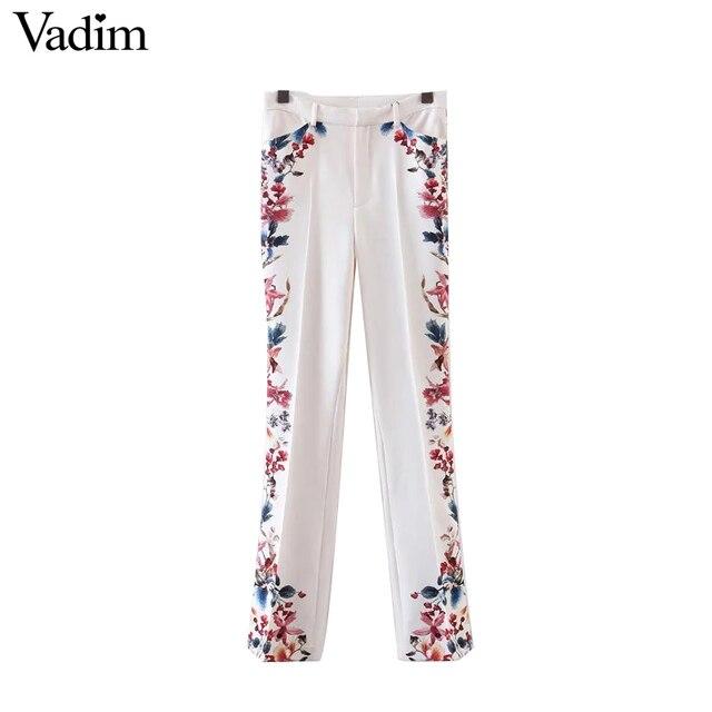Vadim mujeres estampado de flores dulce flare pants ladies nueva moda loose pantalones casual pantalones largos pantalones kz922
