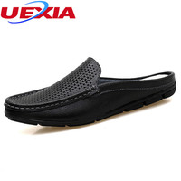 Men slippers Breathable male shoes Hollow Men's Flip Flops Leather Slippers Massage Summer Beach Fashion Beach zapatos hombre