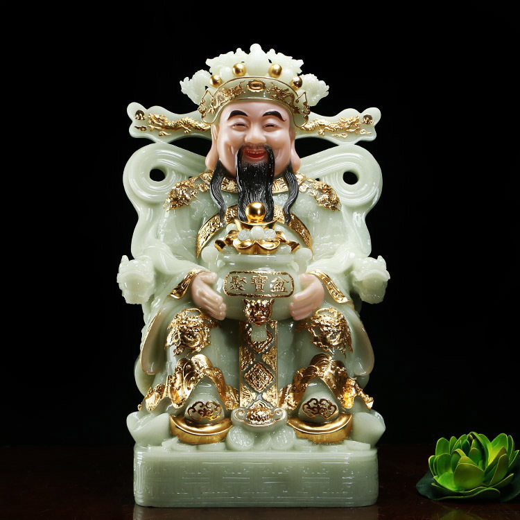 40cm large # High-grade home company SHOP efficacious Mascot Mammon God of wealth Natural jade gilding carving Sculpture statue