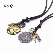 VOQ 2017 Fashion Lucky Spade Straight Flush Poker Handmade Charm Choker Men Friendship Adjustable Long Leather Necklace Jewelry