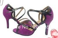 Sexy Ladies Purple Velvet LATIN Shoes Ballroom Dance Shoes Salsa Tango Bachata Mambo Shoes