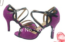 Sexy Ladies Purple Velvet LATIN Shoes Ballroom Dance Shoes Salsa Tango Bachata Mambo Shoes Size 34,35,36,37,38,39,40,41