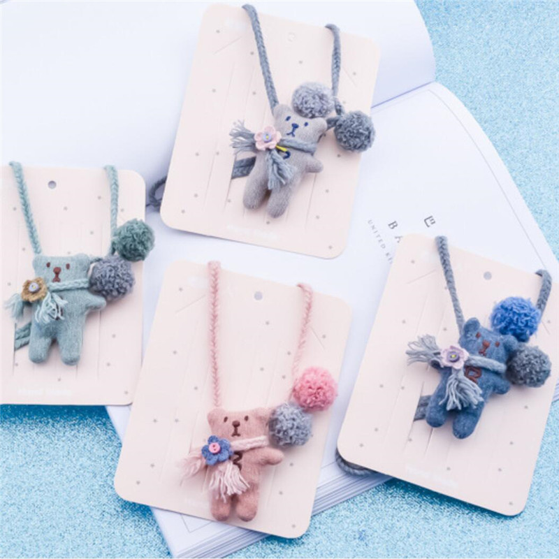 Kids Children Girl Necklace Cute Cartoon Fabric Bear Flower Korean Handmade Button Gifts Apparel Accessories Wholesale-HZPR(China)