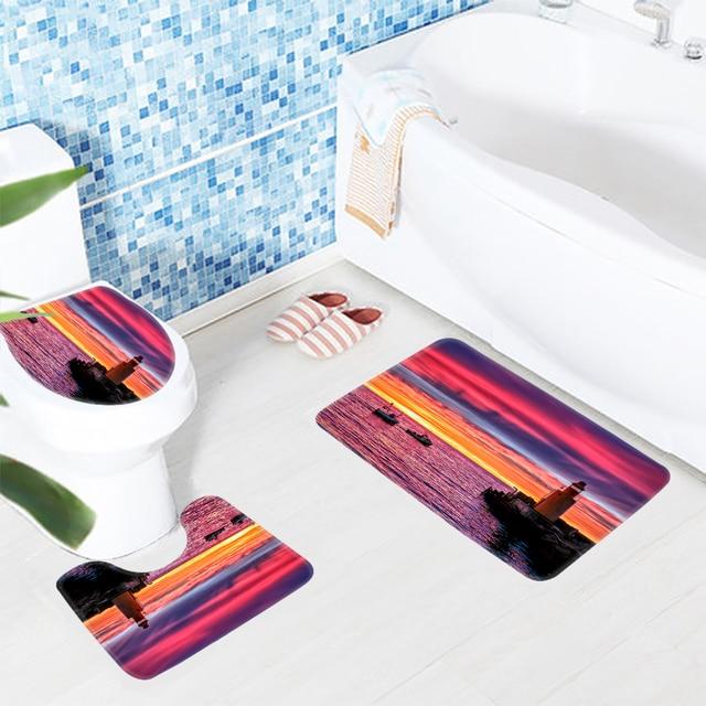 3pcs Bathroom Mat Set Lighthouse Sky Ocean Pattern Bath Anti Slip Rug Ant Toilet