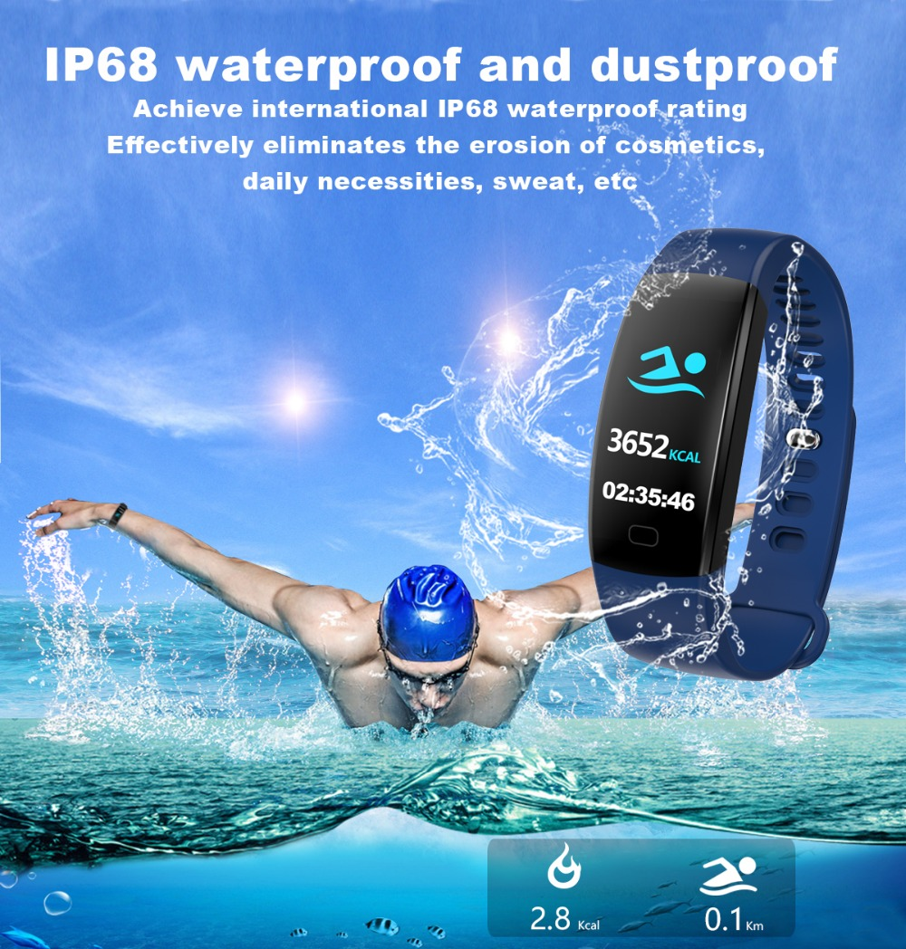 Torntisc F64HR Heart rate smart bracelet IP68 Waterproof Color screen Blood pressure oxygen Fitness tracker Smart band GPS watch (6)