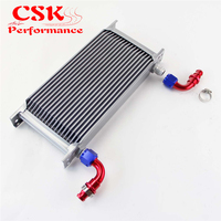 19 Row AN10 Universal Aluminum Engine Transmission 248mm Oil Cooler British Type w/ Fittings Kit Silver