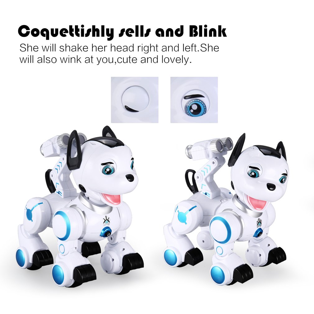 K10 Smart RC Dog Dance Head Spin Blink Patrol Remote Control intelligent Robot Dog Electronic Pet Toy Kid Gift RC Robot Model 2018 new education electric rc robot toy k 1 2 4g intelligent rc robot abs dancing music remote control robot best gift kid