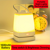 Rechargeable LED Night Lights Portable Emergency Desk Lamp Bluetooth Music Player USB Charge Brightness Dimming For
