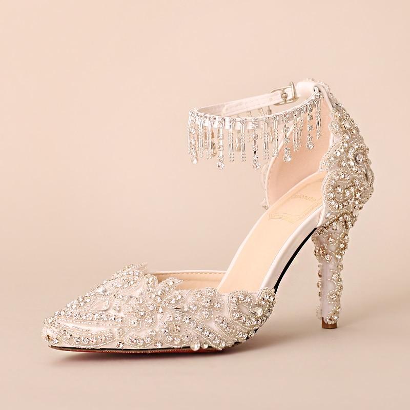 Dentelle Talons D'été Gland Mariage Hauts Sandales Lumineux Mariée Femmes Femme Bracelet Chaussures À Cristal Perles De Diamant Exquis tPqwBYa