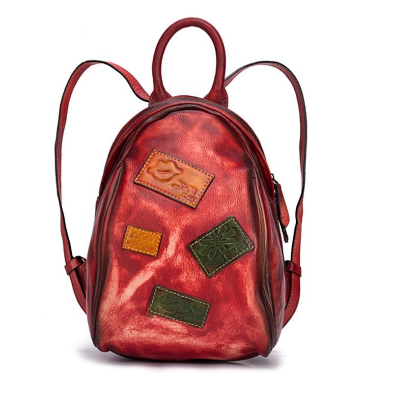 High Quality Cowhide Daypack Rucksack Knapsack Small Geometry Patchwork Travel Brush Color Bag Women Backpack Genuine
