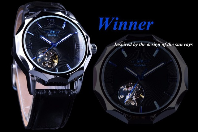 2018 Top Brand Winner Blue Ocean Geometry Design Transparent Skeleton Dial Mens Watch Luxury Automatic Fashion Mechanical Clock