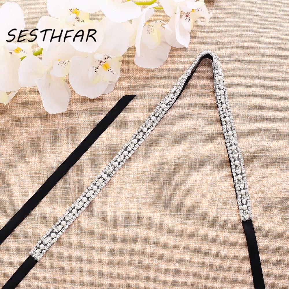 Silver Crystal Wedding Belt With Pearls Rhinestones Ribbons Bridal Belt Sash For Wedding Dress J170S