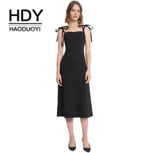 HDY Haoduoyi  A-Line Sweet Dress Black Comfortable Light Through High-Looking Contracted