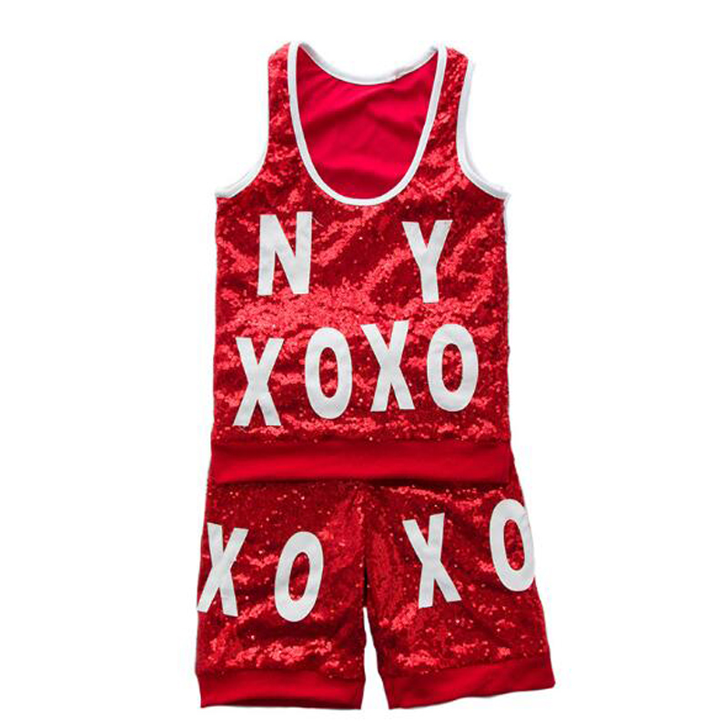 Red Hiphop Dance Suits with Letters Children Street Dance Wear Clothes Hip-hop Performance Coat Kids Jazz Costume 110-180cm