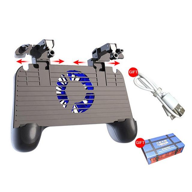 PUBG جهاز التحكم في عصا التحكم بنك طاقة عالي السعة مروحة pubg المحمول الهاتف غمبد الزناد النار زر ل iphone الروبوت أذرع التحكم في ألعاب الفيديو