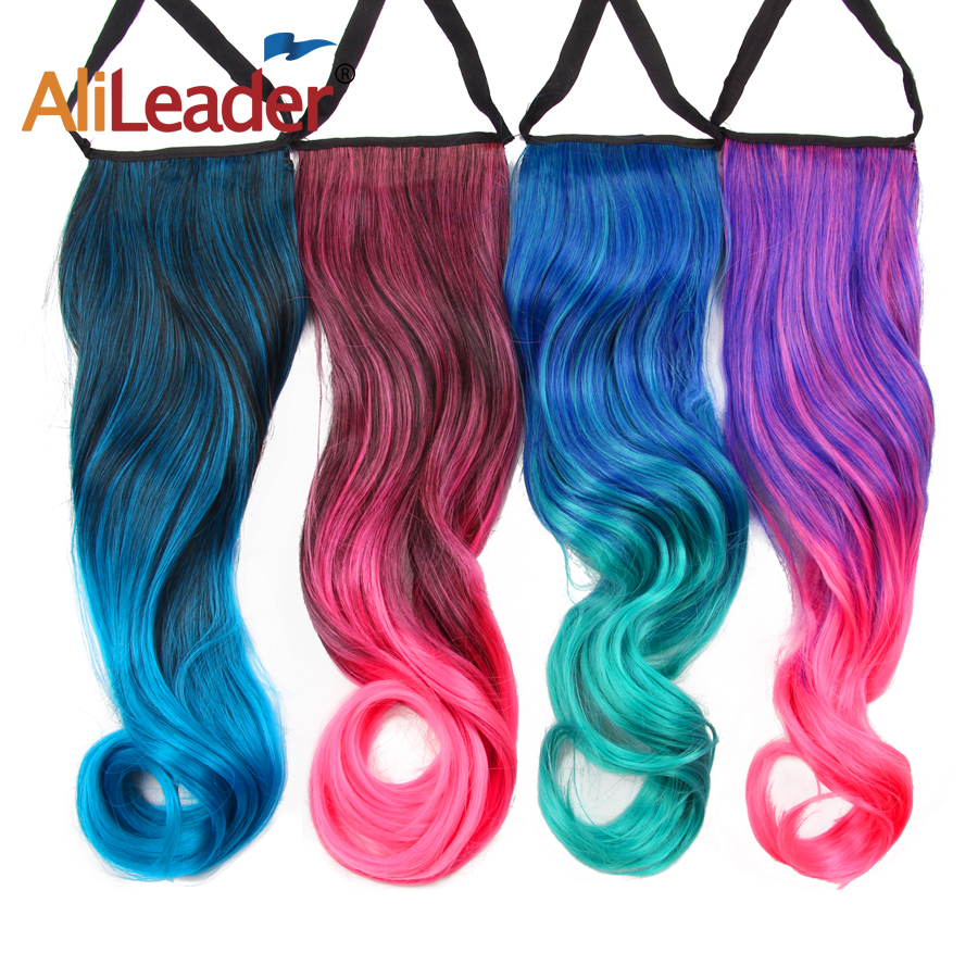 Alileader Synthetic Curly Ponytail Clip In Hair Extensions Natural Black Heat Resistant Hairpiece For Human Women Ombre Color