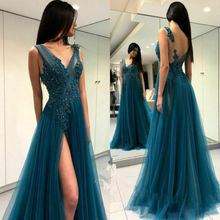 2019 Evening Party Prom Gown Sexy perspective  V Neck Lace dress High slit A-Line backless Robe de soiree