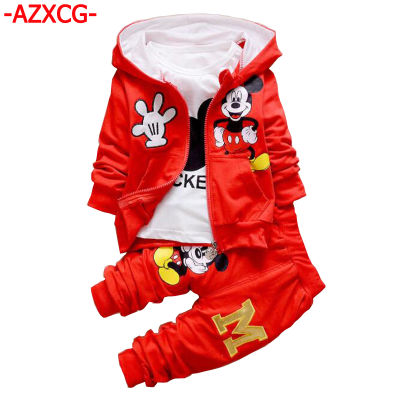 2017 Boy Mickey Sports Suit Kids 1-2-3-4 Years Baby Boys Girls Spring Autumn Clothing Set Children's 3Pcs Hooded Tracksuit free shipping 2017 spring autumn children baby boys hooded sports suit letter 2pcs set kids