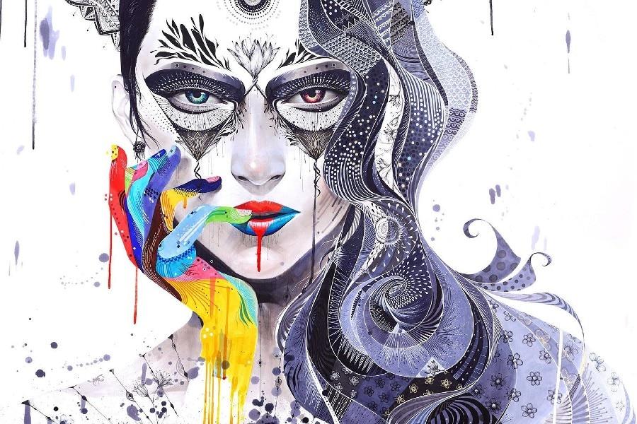 Mädchen gesicht porträt aquarell kunst wand rahmen poster und Druck ...