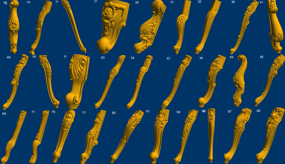28 Pieces Good Quality 3D Models In STL Format For Furniture Parts Legs Cnc Router Carve Engrave Artcam Type3