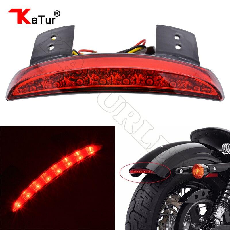 Rot/Rauch Gehackt Fender Rand Motorrad 8 LED RED Lauf bremse Hinten Rücklicht für Harley Sportster XL 883N 1200N XL1200V