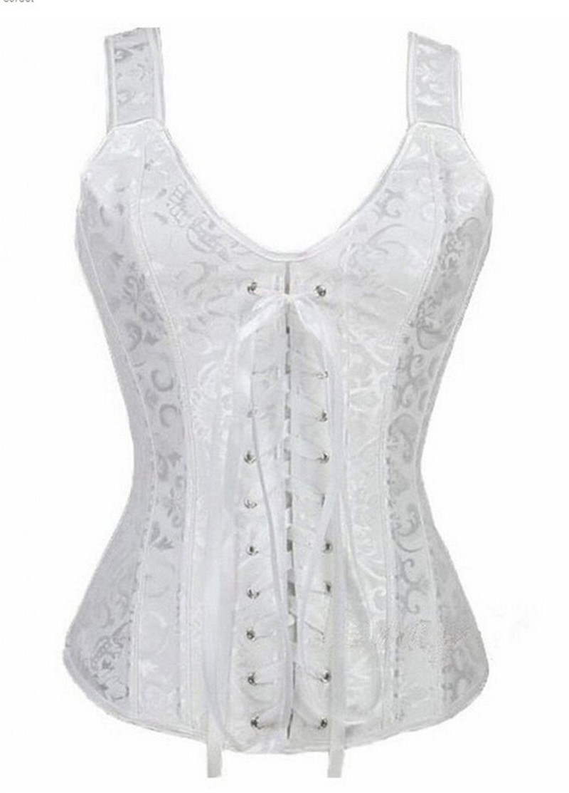 4a447415cb Sapubonva bustier plus size gothic brocade overbust corset vest top waist  cincher body shaper corselet for women zip white 6xl-in Bustiers   Corsets  from ...