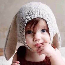 Детская шапка для девочек, шапка для маленьких мальчиков, вязаный кролик длинное ухо, шапка для малышей, шапочка для новорожденных, реквизит для фотосъемки