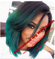 Selling Ombre Teal/Green Short  Synthetic Lace Front Wig Glueless Two Tone Natural Black/Teal Heat Resistant Hair Woman Wig