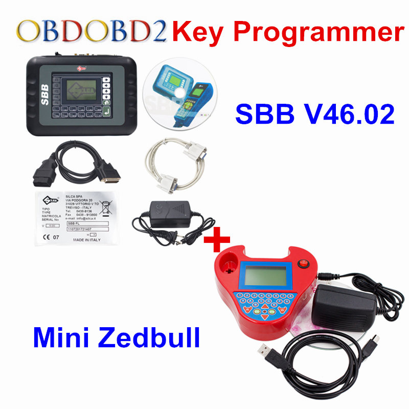 SBB V46.02 Auto Key Programmer PRO OBD2 Transponder Silca SBB V33.02 OR V46.02&Mini Zed Bull SW V508 Works Multi-Car Key Maker