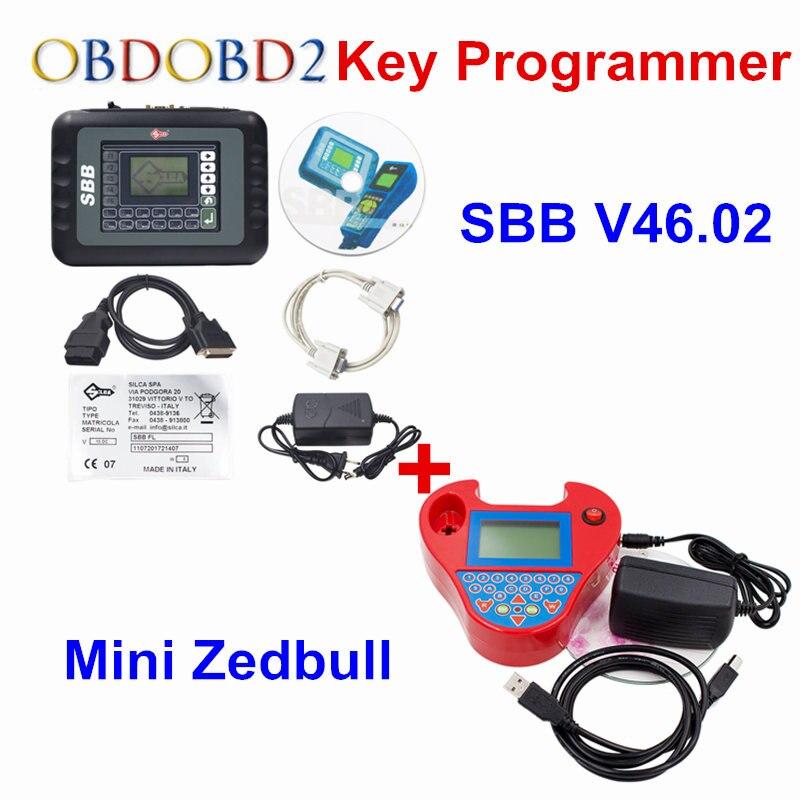 SBB V46.02 Auto Key Programmer PRO OBD2 Transponder Silca SBB V33.02 OR V46.02&Mini Zed Bull SW V508 Works Multi-Car Key Maker 3 0 lcd sbb car key programmer