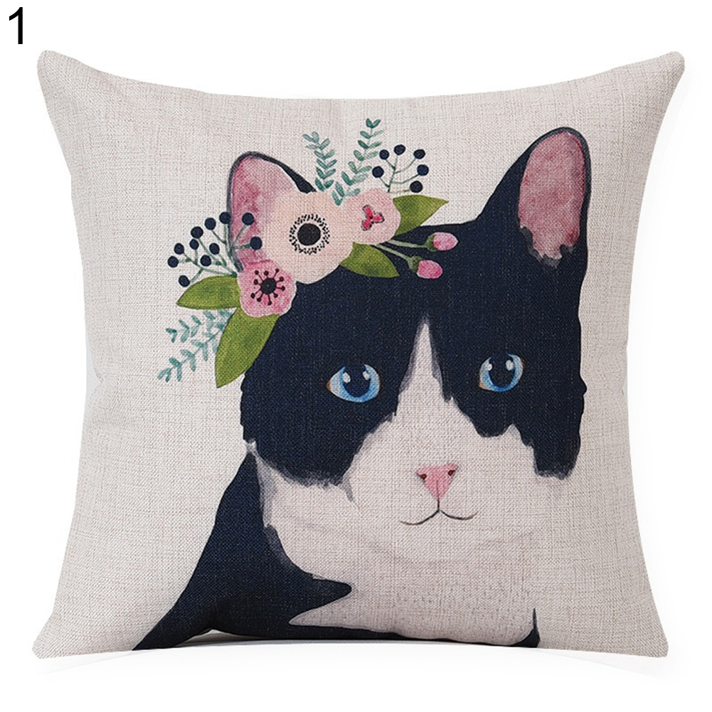Creative Animal Sofa Cushion Cover Deer Fox Zebra Linen Pillow Case Home Decor
