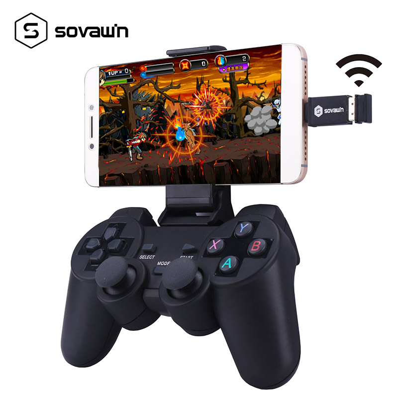 2.4G Wireless Android Gamepad Joystick Controller Computer Joypad with Phone Holder for PC Mobile Phone TV box for Windows android wireless gamepad for android phone pc ps3 tv box joystick 2 4g joypad game controller for xiaomi smart phone