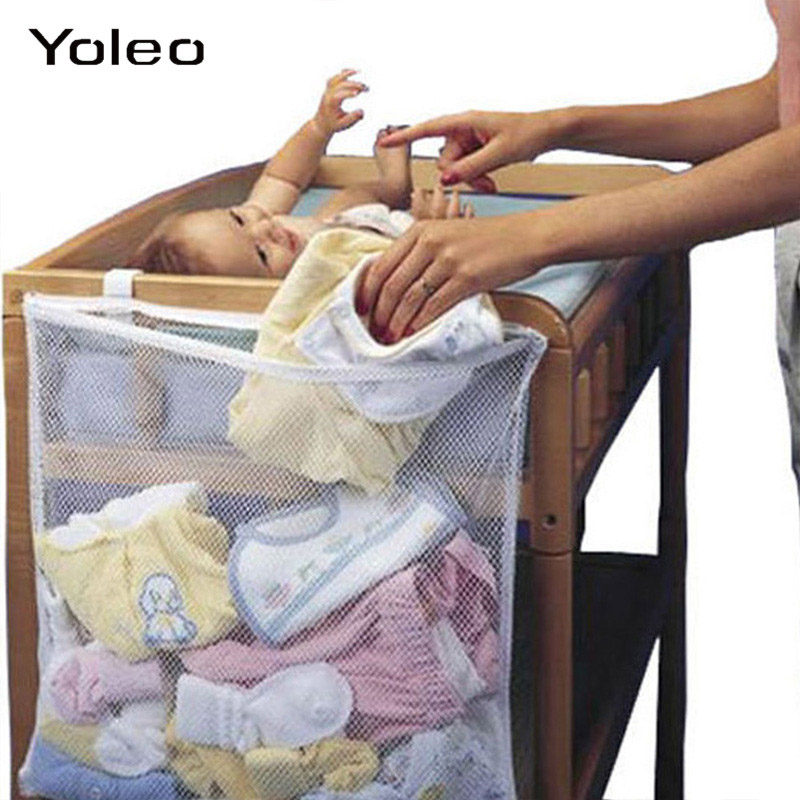 Baby Crib Bed Hanging Large Storage Bag Basket Organizer For Baby Toys Dirty Clothes Mesh Storage Bags Baby Bedside Pouch