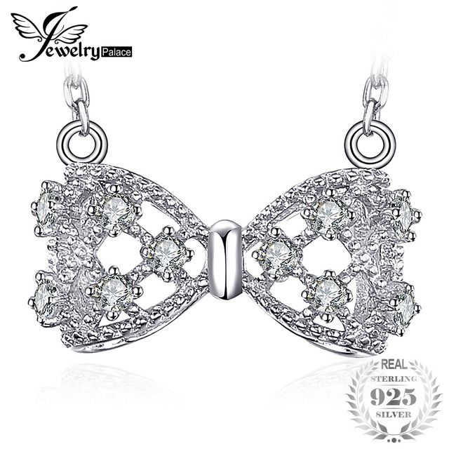 JewelryPalace Bow Round Cubic Zirconia Chain Necklace S925 Sterling Silver Fashi