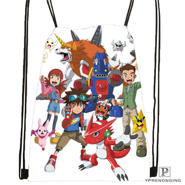 Custom Digimon  (31)   Drawstring Backpack Bag Cute Daypack Kids Satchel (Black Back) 31x40cm#180612-03-digimon