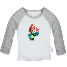 Princess Ariel The Little Mermaid Sexy Tattoo Design Newborn Baby T-shirts Toddler Graphic Raglan Color Long Sleeve Tee Tops(China)