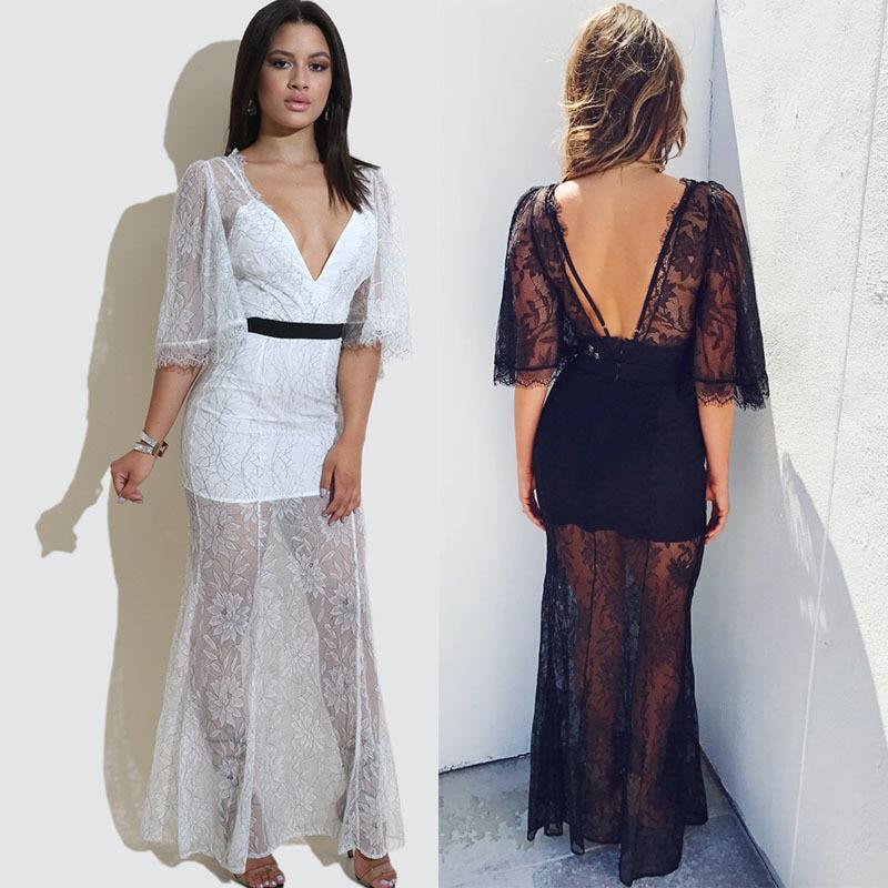 34d898870015121 MUXU сексуальное прозрачное платье женская одежда Сетчатое белое кружевное  платье vestidos robe femme ete 2018 vestidos