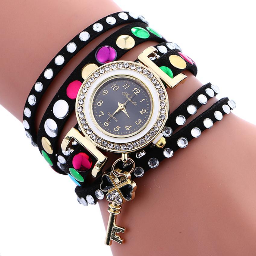 2018 Vintage Women Watches Stylish Key Pendant Leather Bracelet Lady Womans Wrist Watch SB 30p