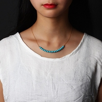 LouLeur 14K gold Turquoise necklace handmad DIY temperament natural green Turquoise beads necklace for women fashion jewelry