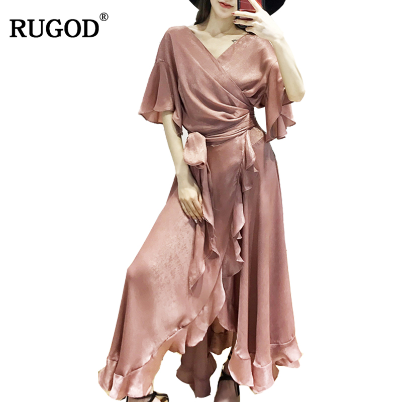 RUGOD European Style Asymmetrical Ruffle Party Dresses Women 2018 Summer Solid Bow Tie Waistband Long Satin Dress Vestidos Mujer