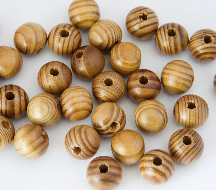 Сосны натуральный круглый деревянный Spacer деревянные бусины подходят для браслета цепочки и ожерелья DIY ювелирных изделий 50 шт.