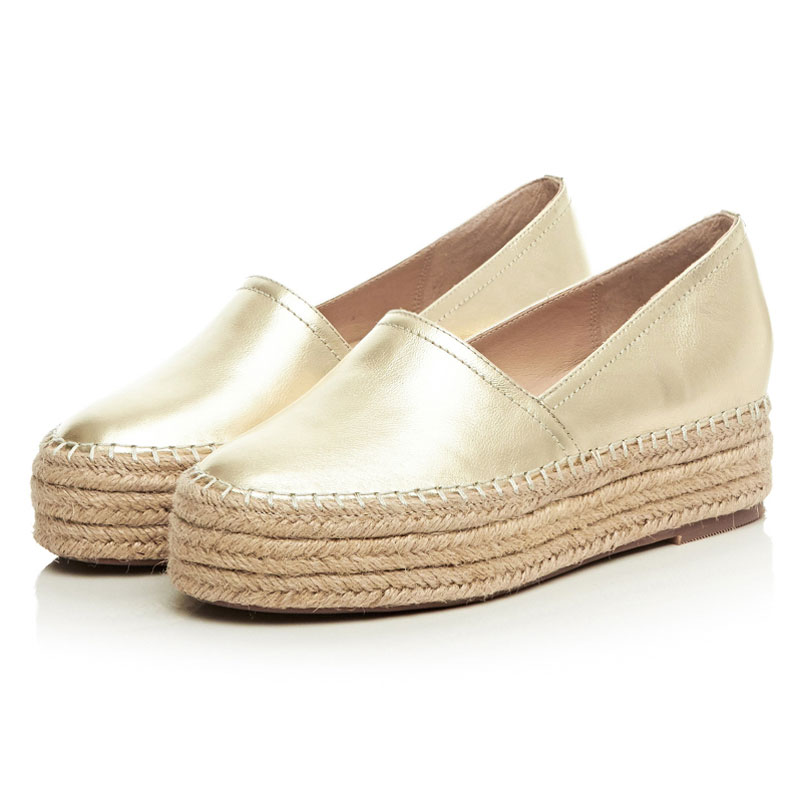 Silver Leather Shoes Flat