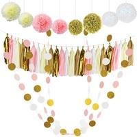 30 Pcs Papier de soie Pom Poms Fleurs Tissus Tassel Garland Polka Dot Papier Guirlande Kit pour les Décorations De Noce